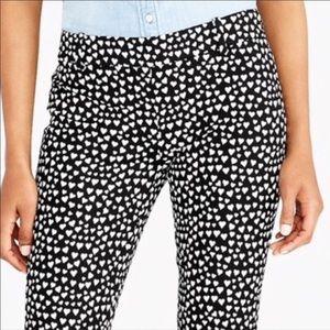 Trousers Pants Black White Hearts J Crew 8